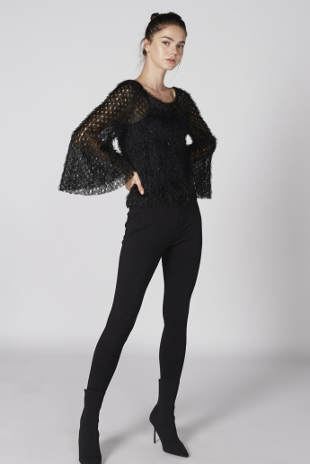 Textured Top with Round Neck and Long Flared Sleeves