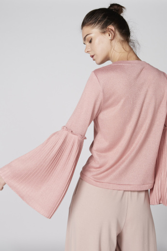 Pleated Long Sleeves Top with Round Neck