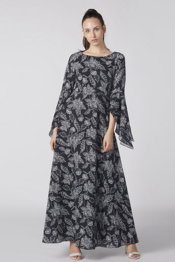 Floral Printed Maxi Dress with Flared Sleeves