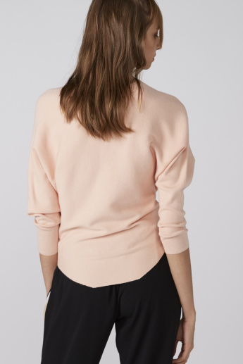 Pearl Detail Sweater with Boat Neck and Long Sleeves