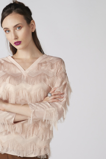 V-Neck Top with 3/4 Sleeves and Fringes