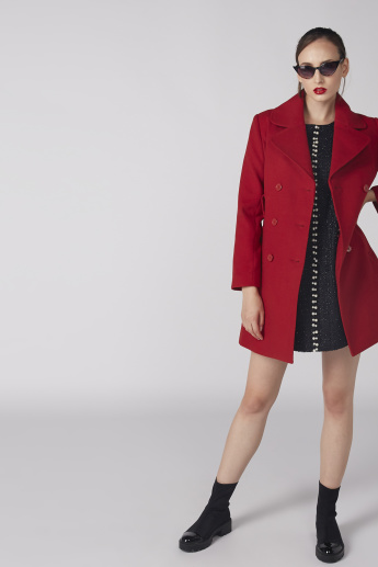 Notched Lapel Trench Coat with Long Sleeves and Belt