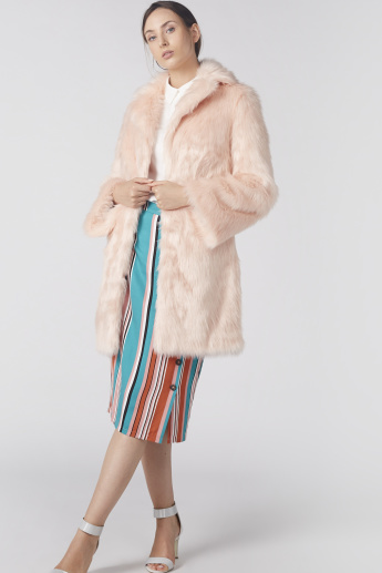 Plush Open Front Jacket with Long Sleeves