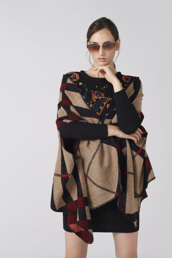 Textured Open Front Poncho