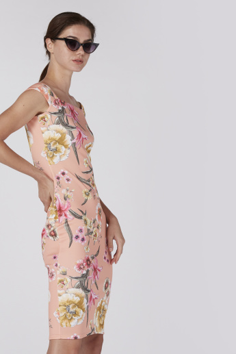 Floral Printed Sleeveless Midi Dress with Bardot Neck