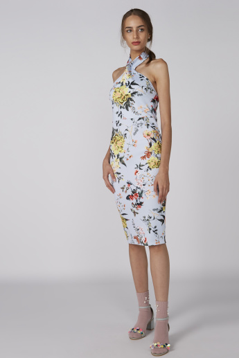 Floral Printed Midi Dress with Halter Neck