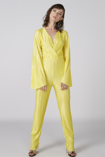 Textured Full Length Jumpsuit with Long Sleeves