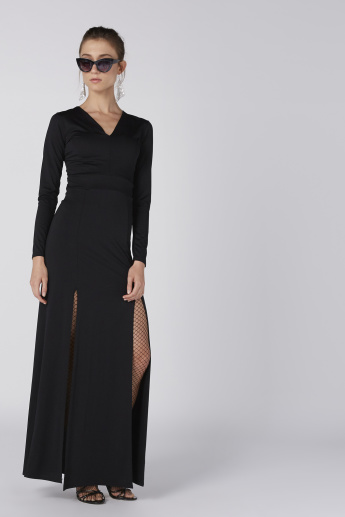 V-Neck Long Sleeves A-Line Maxi Dress with Slits