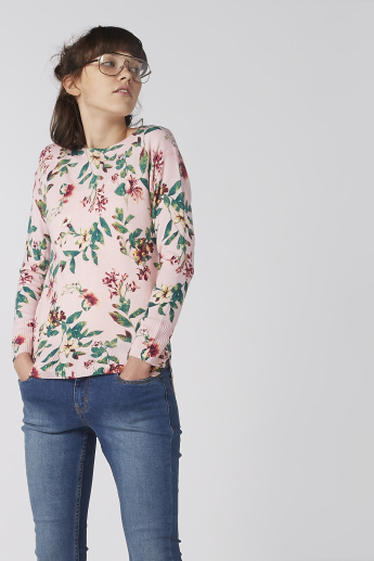 Printed Top with Boat Neck and Drop Shoulder Sleeves