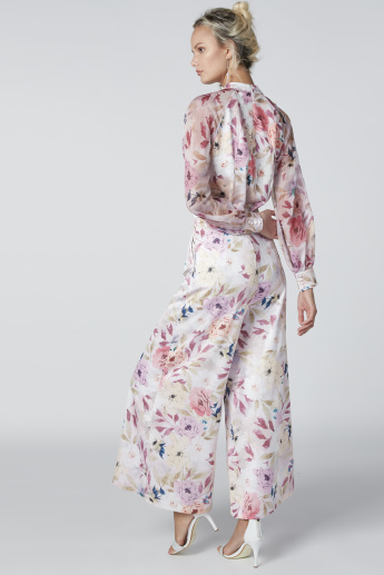 Floral Printed Palazzo Pants with Pocket Detail