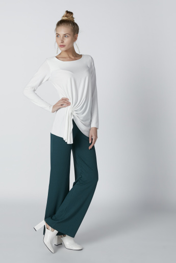 Boat Neck Top with Long Sleeves and Asymmetric Hem