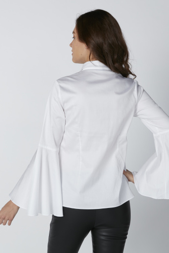 Concealed Placket Shirt with Flared Long Sleeves