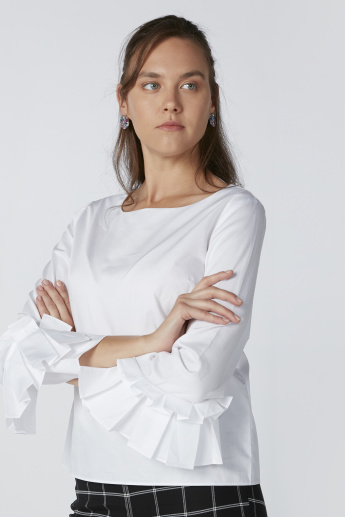 3/4 Sleeves Top with Frill Detail