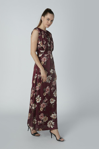 Floral Printed Sleeveless A-line Maxi Dress with Boat Neck