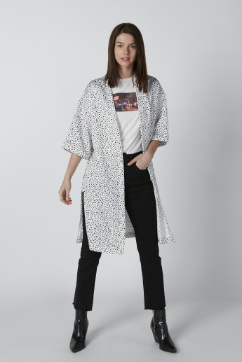 Sustainable Printed Cardigan with Pocket Detail and 3/4 Sleeves
