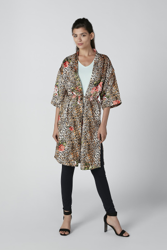 Sustainability Printed Shrug with 3/4 Sleeves