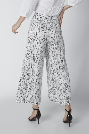 Sustainable Printed Mid-Rise Palazzo Pants in Wide Fit