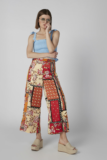 Sustainability Floral Printed Mid-Rise Palazzos in Wide Fit