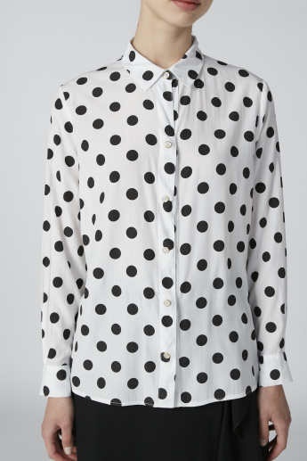 Long Sleeves Shirt with Polka Dot Prints and Complete Placket