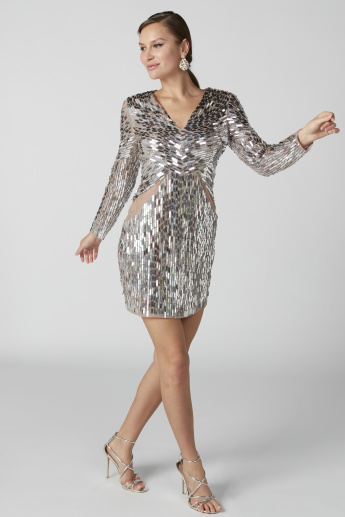 Embellished Mini Bodycon Dress with Long Sleeves and Zip Closure