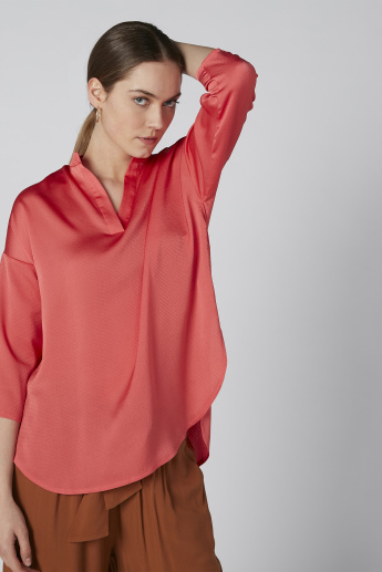 Solid V-neck Top with Drop Shoulder Sleeves and High Low Hem