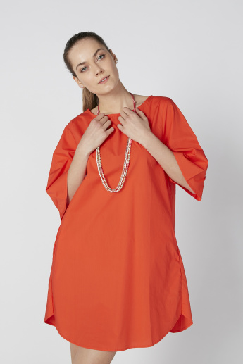 Solid Tunic with 3/4 Sleeves and Pocket Detail