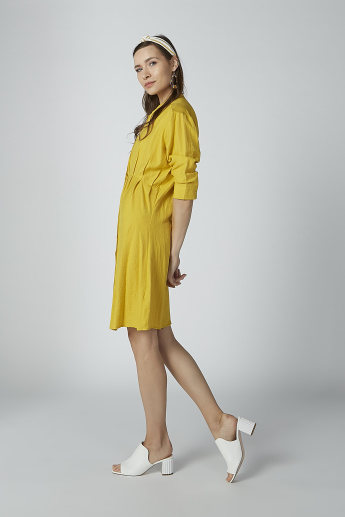 Textured Tunic with Mandarin Collar and 3/4 Sleeves