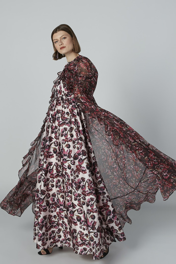 Printed Cape with Tie Up and Ruffle Detail