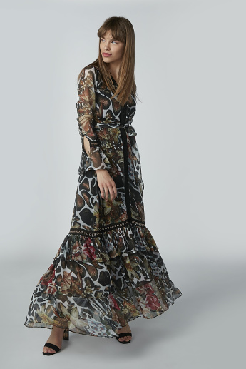 Animal Printed Maxi A-line Dress with Flounce Sleeves