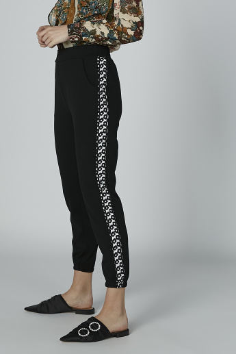 Textured Pants with Pocket Detail and Elasticised Waistband