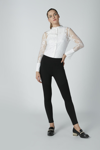 Textured Trousers with Elasticised Waistband