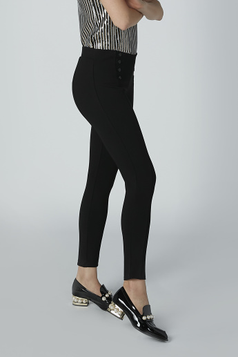 Full Length Solid Treggings with Button Detail
