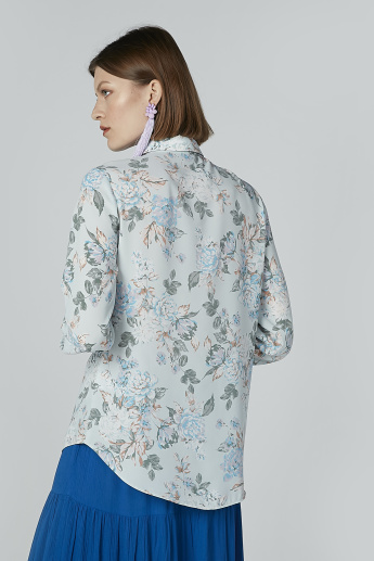 Floral Printed Shirt with Long Sleeves and Concealed Placket