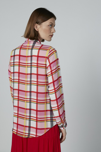 Chequered Shirt with Long Sleeves and Concealed Placket