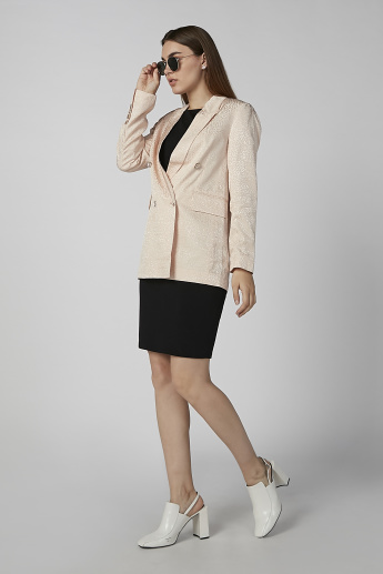 Printed Notched Lapel Blazer with Long Sleeves and Button Closure