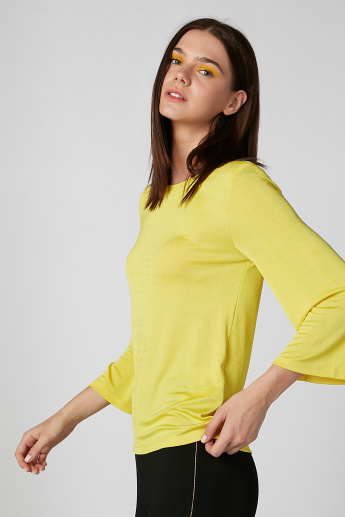 Plain Top with Round Neck and 3/4 Sleeves
