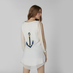 Anchor Embroidered Mini Dress with  V-neck and Long Sleeves