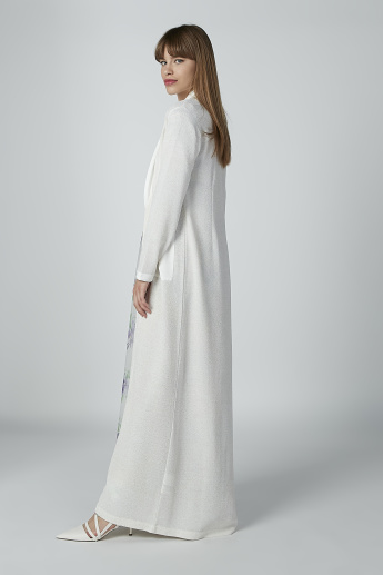 Textured Longline Shrug with Pocket Detail and Long Sleeves