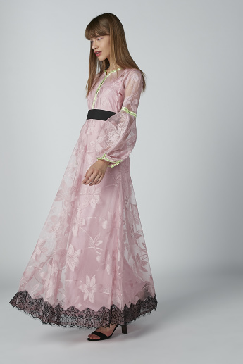 Lace Detail Maxi Dress with Long Sleeves
