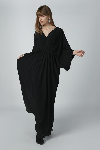 Plain Maxi A-line Dress with V-neck and Flared Sleeves