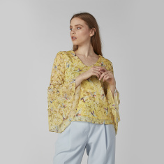 Printed Top with V-neck and Flared Sleeves