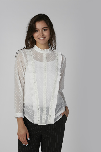 Textured Top with High Neck and Lace Detail