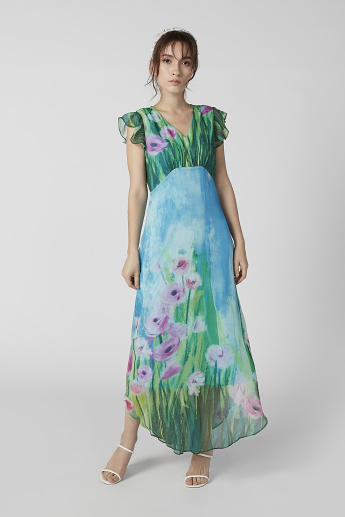 Sustainability Floral Printed Maxi A-line Dress with Frill Cap Sleeves
