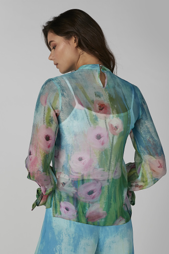Floral Printed Top with High Neck and Long Sleeves