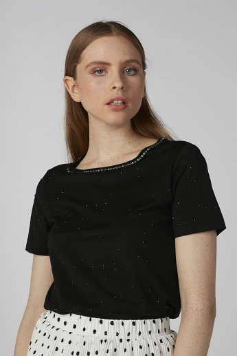 Sustainable Embellished T-shirt with Round Neck and Short Sleeves