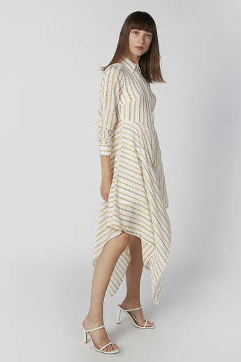 Printed Midi Shirt Dress with Long Sleeves and Asymmetric Hem