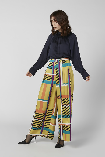 Full Length Printed Flexi Waist Palazzo Pants with Pocket Detail