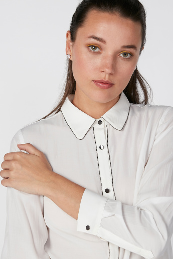 Sustainable Shirt with Long Sleeves and Spread Collar