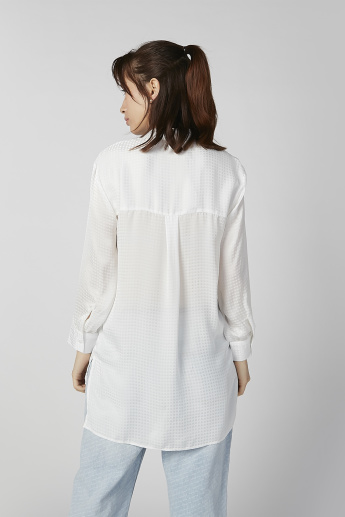 Sustainable Textured Shirt with Long Sleeves and High Low Hem