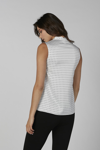 Sustainability Polka Dot Printed Sleeveless Top with Pussy Bow